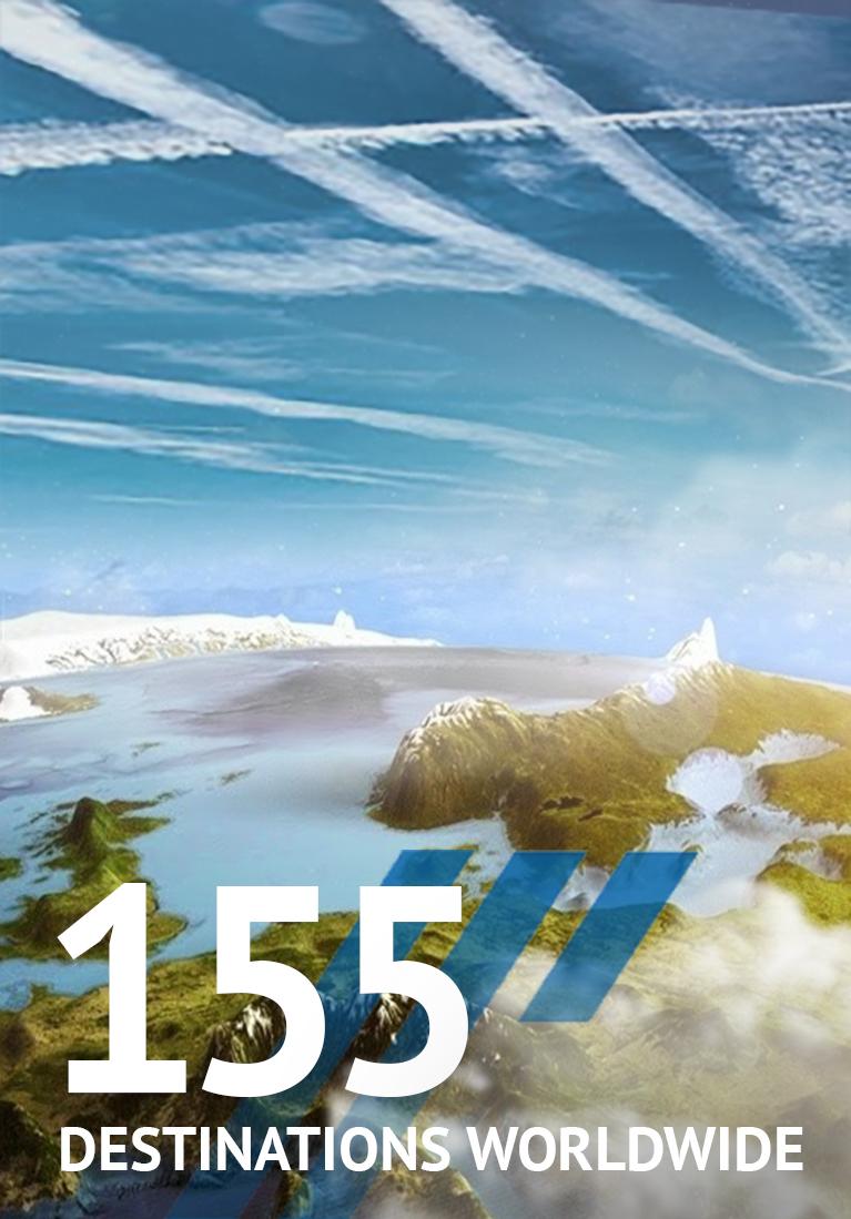 155 destinations